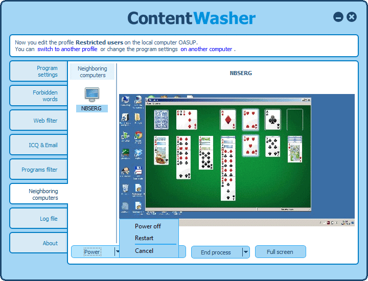 Screenshots of ContentWasher